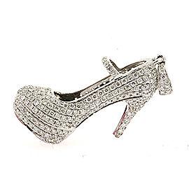 High Heel Shoe 3ctw Full Pave Diamond Pendant Red Bottom 14k White Gold 3D