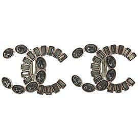 Chanel Silver Tone Rhinestone Earrings