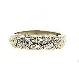 2 Row Diamond Wedding Band Ring Platinum Single Cut .42ct sz 5.75 Vintage