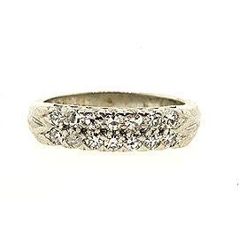 2 Row Diamond Wedding Band Ring Platinum Single Cut .42ct sz 5.75 Vintage
