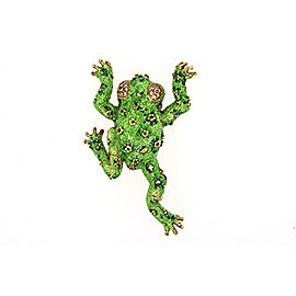 Garavelli Frog Brooch Pin Italy 18k Gold Large Green Enamel Diamond Ruby Eyes