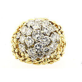 Kurt Wayne Diamond Cluster Ring 3.35ctw 18k Yellow Gold sz 6.25 Domed Knit Weave