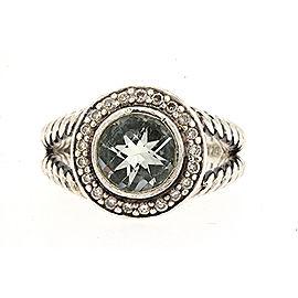 David Yurman Sterling Silver Iolite, Diamond, Amethyst Ring Size 6