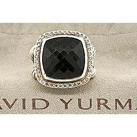David Yurman Sterling Silver Onyx, Diamond Ring Size 6.5