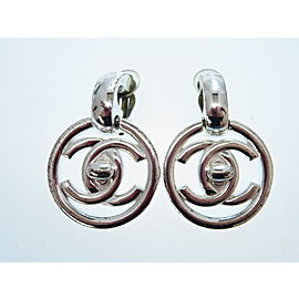 Chanel Silver Tone CC Earrings