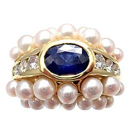 Mikimoto 18K Yellow Gold Ceylon Sapphire 0.50ctw Diamond Pearl Ring Size 5
