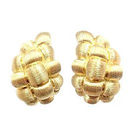 Henry Dunay 18K Yellow Gold Basket Weave Teardrop Earrings