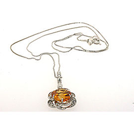 18k White Gold Flower Citrine 1/2ct Diamond Necklace Pendant Custom Rare