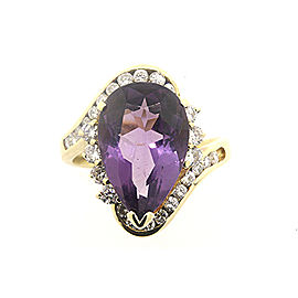 14k Gold Large Pear Amethyst Diamond Ring Band size 7.25