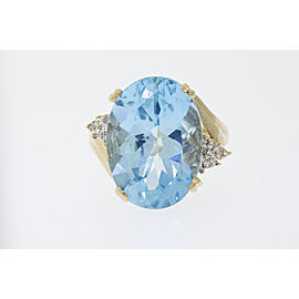 14K Yellow Gold Topaz, Diamond Ring Size 8.25