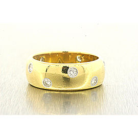 Tiffany & Co. Etoile 18k Gold Platinum Diamond Ring Band Wide 8mm Version sz 9
