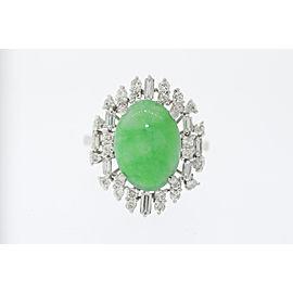 14K White Gold Diamond, Jadeite Ring Size 9.5