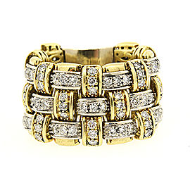Roberto Coin Appassionata Basketweave Ring 18k Yellow White Gold 5.5