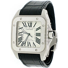 Cartier Santos 100 Large Silver Roman Dial Steel Mens Watch Box Papers W20073X8