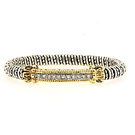 A. Alwand Vahan Diamond Bar Bracelet 14k Gold Sterling Silver Bangle 6.25""