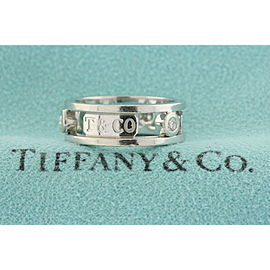 Tiffany & Co. T & Co. 1837 3 Diamond Open Band Ring 18k White Gold Size 5.5