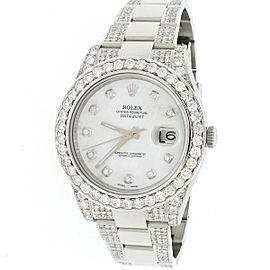Rolex Datejust II 41mm 8cttw Diamond Bezel/Bracelet/Dial Watch 116300 Box Papers