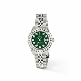 Rolex Datejust Steel 26mm Jubilee Watch Forest Green MOP 1.3CT Diamond BezelDial