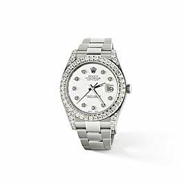 Rolex Datejust II Steel 41mm Watch 4.5CT Diamond Bezel/Lugs/White Dial