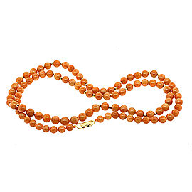 "Ming's Orange Brown Jade Bead Chain Necklace 14k 36"" 7-9mm Graduated"