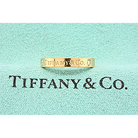 Tiffany & Co. Signature 3 Diamond Band Ring 18k Rose Gold size 4.5