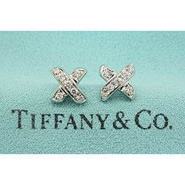 Tiffany & Co. Small Diamond X Stud Earrings 18k White Gold Retired Rare