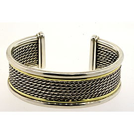 David Yurman Bracelet Wheaton Wide Cuff Sterling Silver 18k Gold