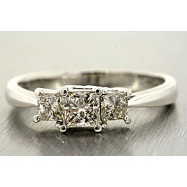 Leo .98ct Princess Cut 3 Stone Diamond Engagement Ring 14k White Gold Platinum