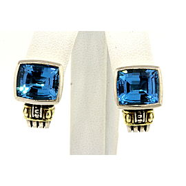 Lagos Caviar Blue Topaz Earrings 18k Yellow Gold Sterling Silver Scalloped