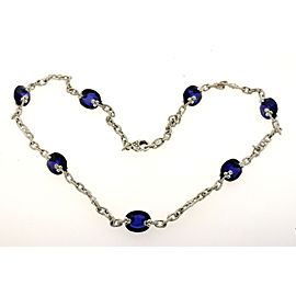 Judith Ripka 18k White Gold Diamond Blue Stone Station Necklace Chain 16.5""