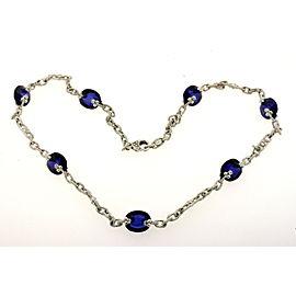 "Judith Ripka 18k White Gold Diamond Blue Stone Station Necklace Chain 16.5"""