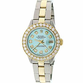 Rolex Datejust Ladies 2-Tone 26mm Oyster w/Blue Diamond Dial & 1.30CT Bezel