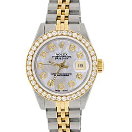Rolex Datejust Ladies 2-Tone Gold/Steel 26mm Watch w/MOP Dial & Diamond Bezel
