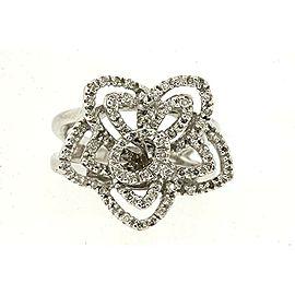 Sonia B. Bitton Diamond Ring Filigree 14K White Gold Flower Floral Star sz 6