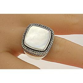 David Yurman Mother Pearl Albion Diamond Ring 15mm sz 6 Large Version