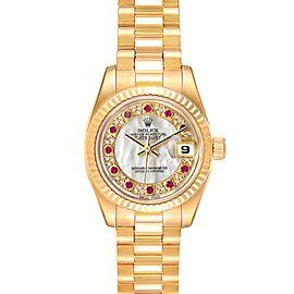 Rolex President Datejust Yellow Gold MOP Myriad Diamond Rubies Watch 179178 Box Papers