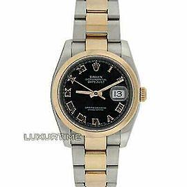 Rolex Datejust 116201 36mmSteel & Rose Gold Black Women's Automatic