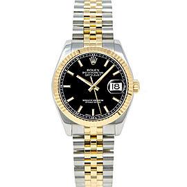 Rolex Datejust 178273 31mmSteel & Yellow Gold Black Index Women's Automatic
