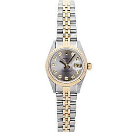 Rolex Datejust 69173 26mmSteel & Yellow Gold Silver Diamond Women's Automatic