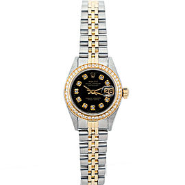 Rolex Datejust 69173 26mmSteel & Yellow Gold Black Diamond Women's Automatic