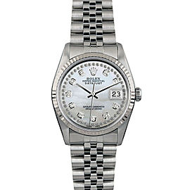 Rolex Datejust 16014 36mmStainless Steel White Mother of Pearl Diamond Women's