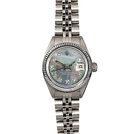 Rolex Datejust 6916 26mmStainless Steel Black Mother of Pearl Diamond Women's