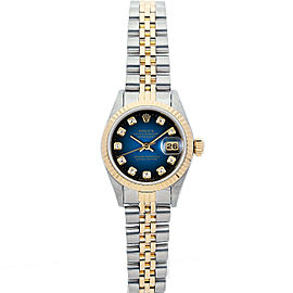 Rolex Datejust 69173 26mmSteel & Yellow Gold Blue Diamond Women's Automatic