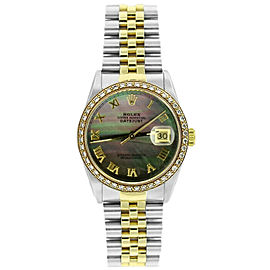 Rolex Datejust 16233 36mmSteel & Yellow Gold Black Mother of Pearl Women's