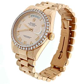 Rolex President Day-Date Rose Gold Pink Roman 36mm 118205 w/1.5Ct Diamond Bezel