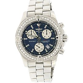 Breitling Chrono Colt 41MM Blue Concentric Dial Steel A73380 w/Diamond Bezel