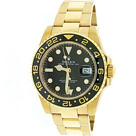 Rolex GMT-Master II 18K Yellow Gold Ceramic Bezel 40mm Watch 116718 Box Papers