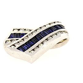 Charles Krypell Sapphire Diamond Slide Pendant Enhancer Ribbon Crossover