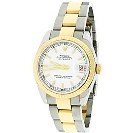Rolex Datejust Midsize 2-Tone 18K/SS Factory White Dial 31mm Oyster Watch 178273