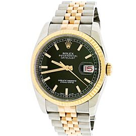 Rolex Datejust Black Index Dial Rose Gold/SS 36mm Jubilee Mens Watch 116231